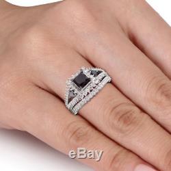 10K White Gold Finish Princess Cut Black Diamond Wedding Bridal Band Ring Set