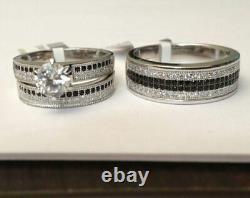 10k White Gold Finish His Her Black & White Diamond Trio Set Wedding Ring Set