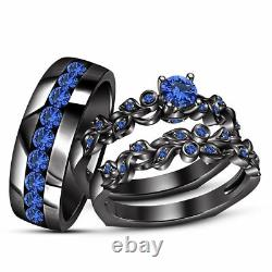 114K Black Gold Finish 2Ct Blue Sapphire His-Her Trio Engagement Ring Set