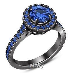 14K Black Gold Finish Blue Sapphire Halo Ladies Bridal Set Engagement Ring Band