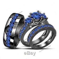 14K Black Gold Finish Blue Sapphire Mens Womens Engagement Wedding Trio Ring Set