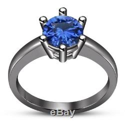14K Black Gold Finish Blue Sapphire Trio Engagement Wedding Ring Band Bridal Set