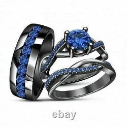 14K Black Gold Finish Blue Sapphire Trio Set Bridal Engagement His Her Ring Band