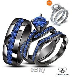 14K Black Gold Finish Blue Sapphire Wedding Trio His & Hers Engagement Ring Sets