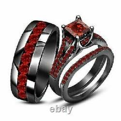 14K Black Gold Finish Garnet Trio Wedding His & Hers Bridal Engagement Ring Set