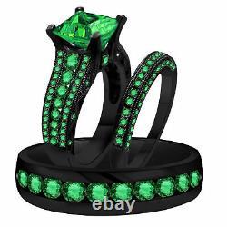 14K Black Gold Finish Green Sapphire Trio Bridal Wedding His & Her Ring Band Set