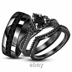 14K Black Gold Finish Pear Black Diamond Wedding Bridal Engagement Trio Ring Set