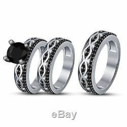 14K White Gold Finish His & Hers Black Diamond Engagement Wedding Trio Ring Set