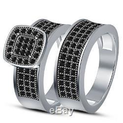 14K White Gold Finish Real Black Diamond Engagement Bridal Ring Wedding Trio Set