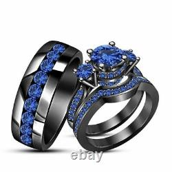 14k Black Gold Finish 2CT Blue Sapphire His & Her Trio Wedding Band Ring Set