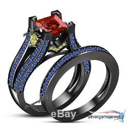 14k Black Gold Finish Gemstone Disney Princess Sally Bridal Set Engagement Ring