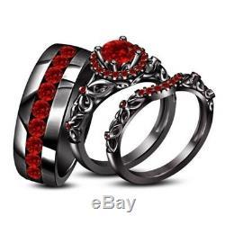 1.25Ct Round Cu Red Garnet His & Her Trio Wedding Ring Set 14k Black Gold Finish