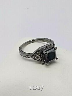 1.50Ct Black Diamond Solitaire Bridal Set Engagement Ring 14K gold black Finish