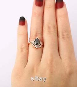 1.6ct Pear Cut Black Diamond Engagement Ring Halo Bridal Set 14k RoseGold Finish