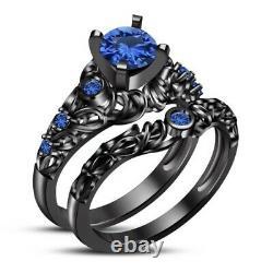 1.72Ct Round-Cut Sapphire Halo Engagement Ring Bridal Set 14K Black Gold Finish