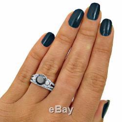 1.80Ct Round-Cut Black Diamond Bridal Set Engagement Ring 10k White Gold Finish