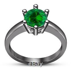 1.80 Ct Green Sapphire Trio Wedding Ring His Her Bands Set 14K Black Gold Finish