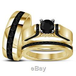 1.91 Ct Diamond 14K Yellow Gold Finish Wedding Bridal Trio Engagement Ring Set