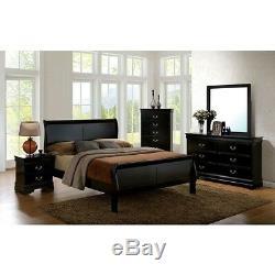 1pc Full Size Master Bedroom Furniture Set Solid Wood Veneer Black Finish Bed
