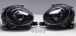2012-2016 Fiat 500 Black Finish Headlights Head Lamps Set Pair
