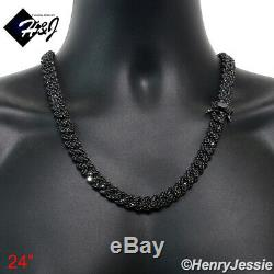24men 14k Black Gold Finish 12mm Icy Prong Set Cuban Curb Chain Necklacebbn7