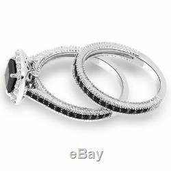 2CT Cushion Cut Diamond Halo Bridal Set Engagement Ring White Gold Finish
