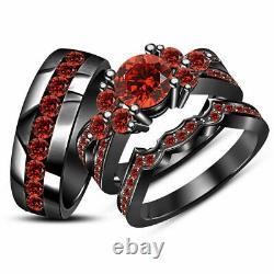 2CT Round Cut Red Garnet His Her Trio Wedding Ring Set 14k Black Gold Finish