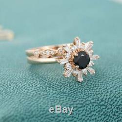 2Ct Black Round Cut Anniversary & Wedding Bridal Ring Set 14K Rose Gold Finish
