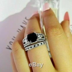 2Ct Cushion Cut Black Diamond Engagement Bridal Ring Set 14K White Gold Finish