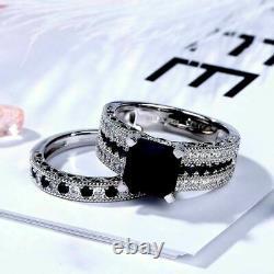 2Ct Cushion Cut Black Diamond Wedding Bridal Ring Set 14K White Gold Finish
