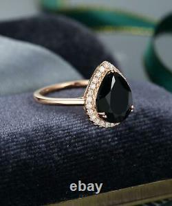 2Ct Pear Cut Black Diamond Halo Bridal Set Engagement Ring 14K Rose Gold Finish