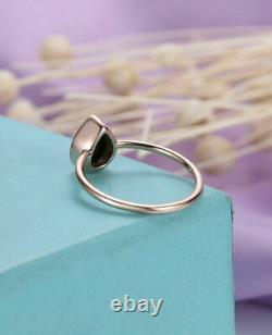 2Ct Pear Cut Black Diamond Trio Set Engagement Ring 14K Rose Gold Finish