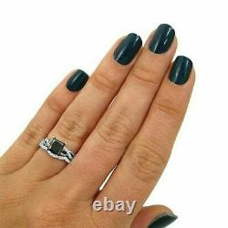 2Ct Princess Cut Black Diamond Bridal Set Engagement Ring 14K White Gold Finish