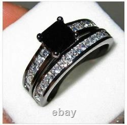 2Ct Princess Cut Black Diamond Engagement Ring Bridal Set 14k Black Gold Finish