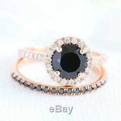 2Ct Round-Cut Black Diamond Bridal Set Halo Engagement Ring 14K Rose Gold Finish