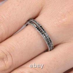 2Ct Round Cut Black Diamond Eternity Bridal Band Ring Set 14K White Gold Finish