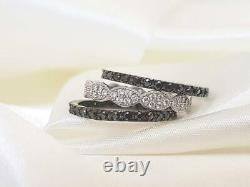 2Ct Round Cut Black Diamond Eternity Wedding Band Ring Set 14K White Gold Finish