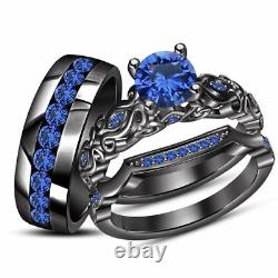 2Ct Round Cut Sapphire 14K Black Gold Finish His-Her Trio Engagement Ring Set