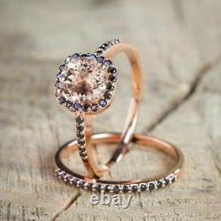2Ct Round Morganite & Black Diamond Wedding Bridal Ring Set 14K Rose Gold Finish