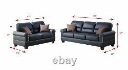 2Pcs Modern Black Bonded Leather Sofa Loveseat Set Trimmed in Nickel Finished