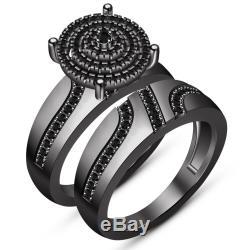 2.05ct Round-Cut Real Black Diamond Bridal Set Engagement Ring 10K Gold Finish