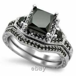 2.15Ct Round Cut Black Diamond Engagement Wedding Ring Set 14k white gold Finish