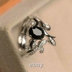 2.20Ct Oval Cut Black Diamond Bridal Set Engagement Ring 14K White Gold Finish