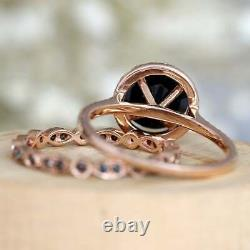 2.20 Ct Round Cut Black Diamond Bridal Engagement Ring Set 18K Rose Gold Finish