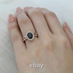 2.2ct Oval Cut Black Diamond Vintage Floral Bridal Set Ring 14k Rose Gold Finish