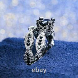 2.35Ct Round Cut Black Diamond Bridal Set Engagement Ring 14K White Gold Finish