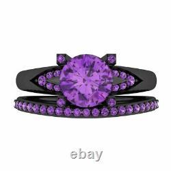 2.40 Ct Purple Amethyst Bridal Wedding Engagement Ring Set 14k Black Gold Finish