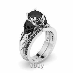 2.50Ct Black Diamond Gothic Skull Engagement Ring Set 14K White Gold Finish