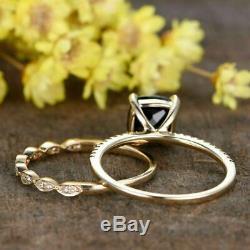 2.50Ct Cushion Cut Black Diamond Engagement Ring Bridal Set 14K Rose Gold Finish