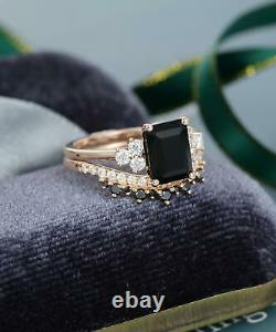 2.50Ct Emerald Cut Black Diamond Bridal Set Engagement Ring 14K Rose Gold Finish